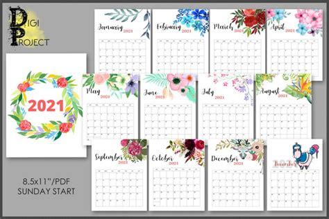 flowers calendar printable watercolor botanical floral  digital design bundles