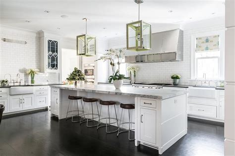 white kitchen  blue  green accents transitional