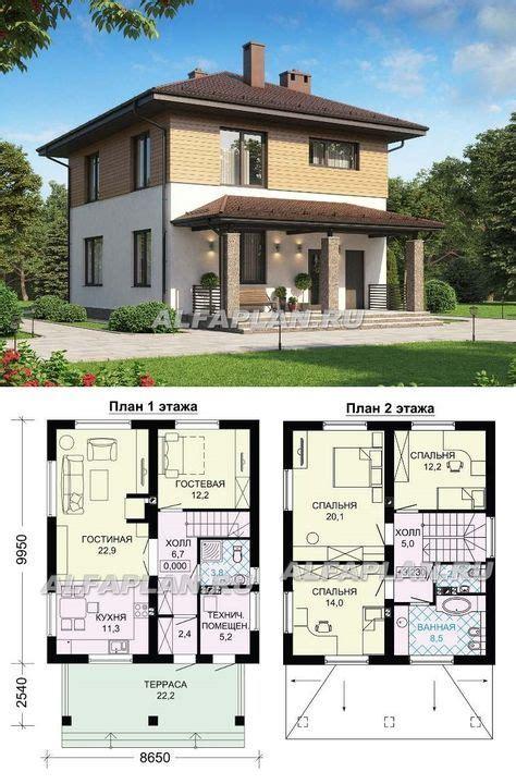 G117 Двухэтажный экономичный и компактный дом Общая