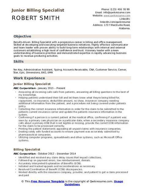 Billing Specialist Resume Exles by Billing Specialist Resume Sles Qwikresume