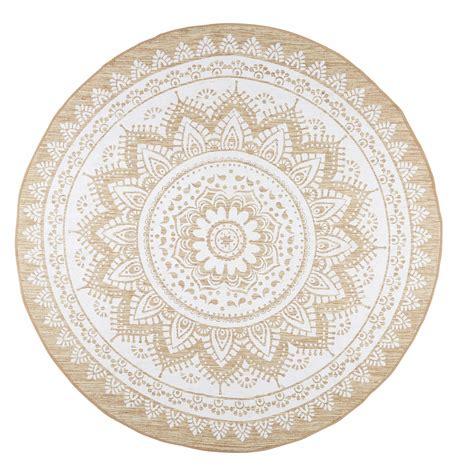 tapis rond en jute  coton blanc  boheme tapis