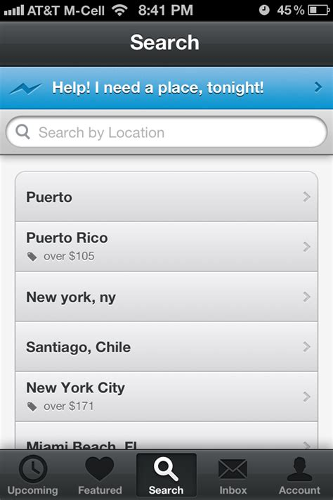 iphone search airbnb screenshots mobile patterns
