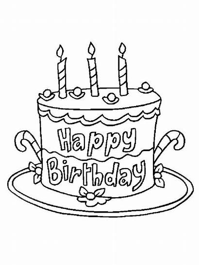 Coloring Birthday Happy Pages Cake Printable Printables