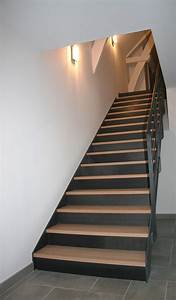 Escalier Droit Bois : escalier droit m tal bois avec limons lat raux gamme ferro ~ Premium-room.com Idées de Décoration