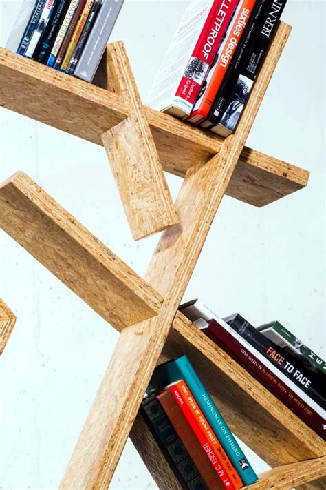 designer bookcase osb  asymmetric shape interior