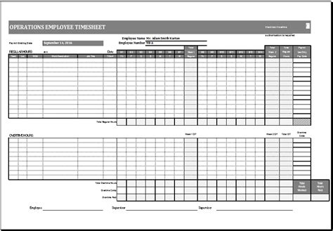 operations employee time card template ms excel excel