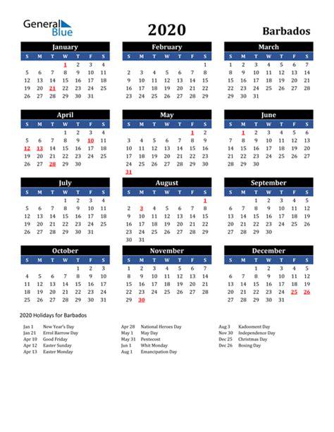 calendar barbados  holidays