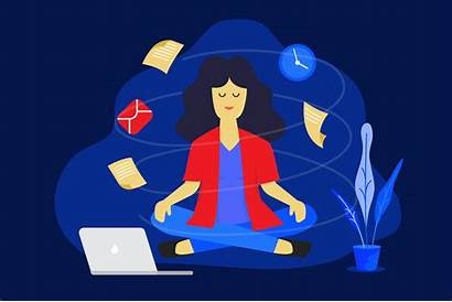 Vector Woman Meditation Business Working Concept Illustration