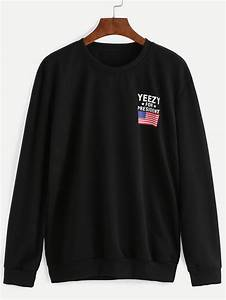 american flag print sweatshirt sheinsheinside With good american letter hoodie