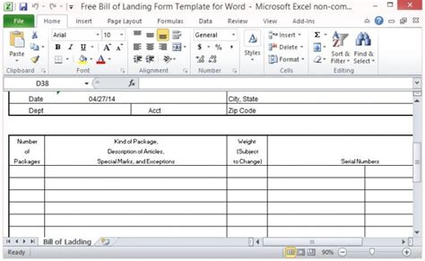 excel form templates free bill of lading form template for excel