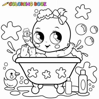 Coloring Bath Taking Bagno Pagina Boy Che