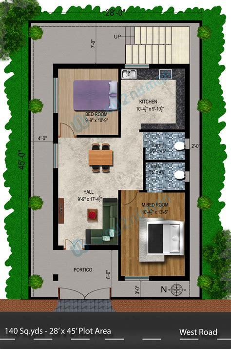 plot plans way2nirman 140 sq yds 28x45 sq ft west house 2bhk