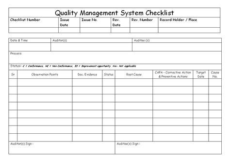 quality management system checklist format samples word