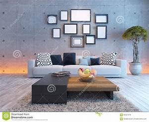 living room interior design with concrete wall and picture With interior design wall of frames