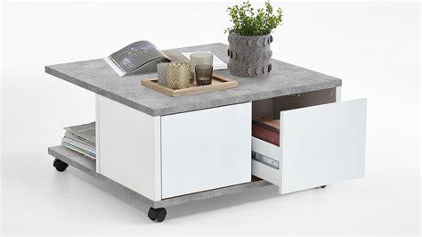 couchtisch wohnzimmertisch auf rollen beton grau wei 223
