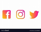 Instagram twitter facebook logo Royalty Free Vector Image