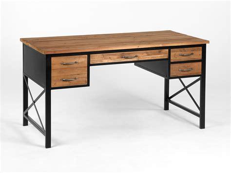 bureau of bureau en métal et bois avec 4 tiroirs longueur 146cm clayton