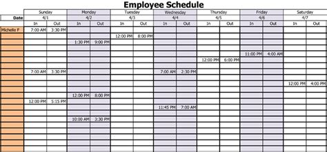 Employee Daily Work Schedule Template by 3 Professional Work Schedule Templates For Employees