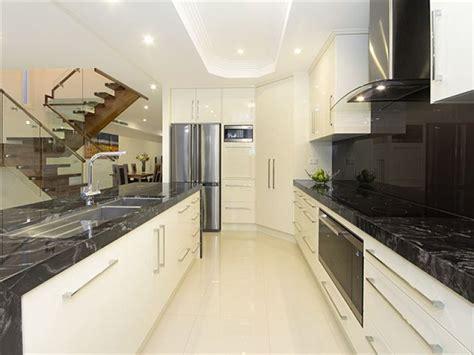 modern galley kitchen design marble kitchen photo