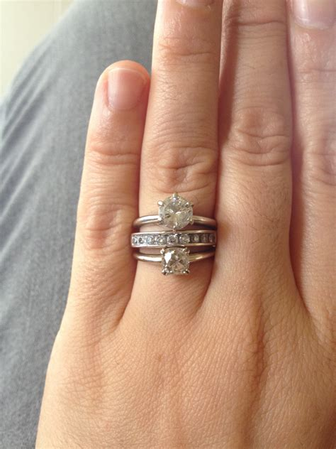 old engagement ring upgrade and playing with stacking weddingbee