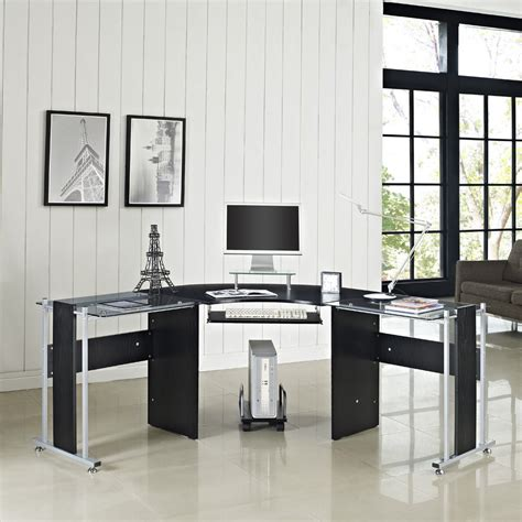 glass home office desk glass computer desk pc table home office furniture black