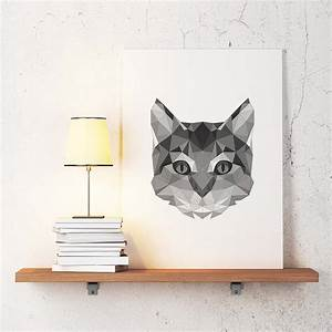cat poster geometric art cat wall decor minimalist abstract With cat wall art