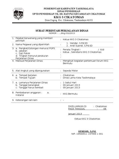 Surat Perintah Perjalanan Dinas by Contoh Surat Perintah Perjalanan Dinas