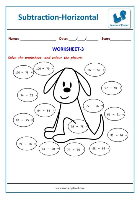 subtraction worksheets    class kids math