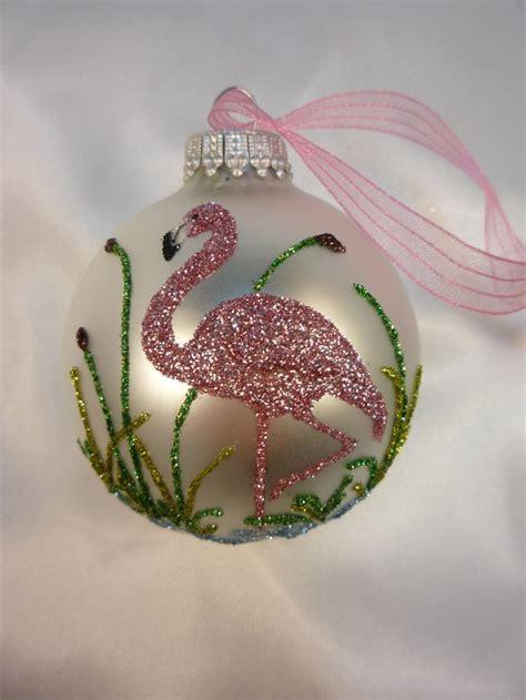 pink flamingo glitter ornament florida christmas