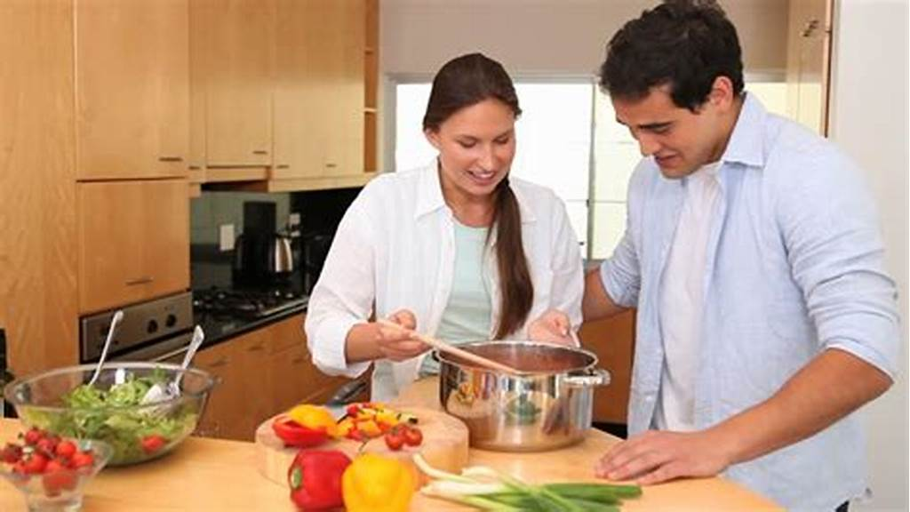 #Talking #Couple #In #The #Kitchen #Taste #The #Food #They #Have