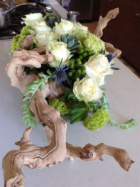 Driftwood Floral Arrangement Grapewood Succulent Wedding