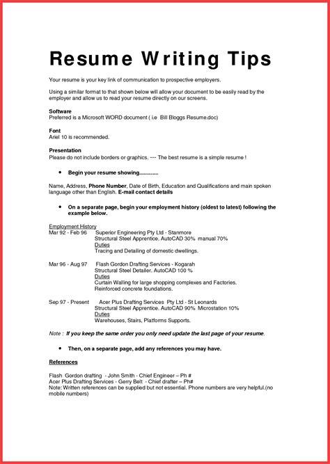 resume format template memo