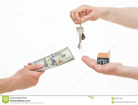 business people exchanging keys  money stock photo
