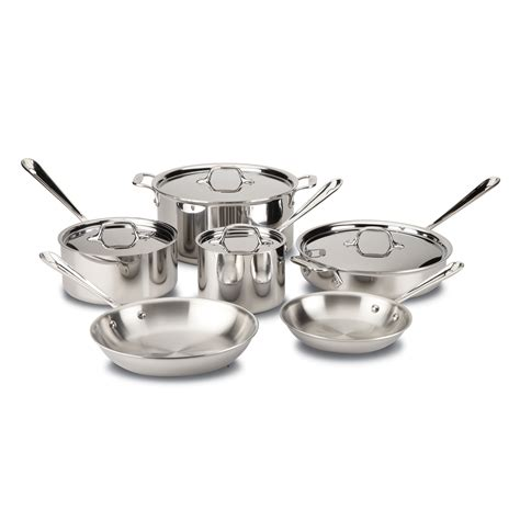 clad tri ply stainless steel  pc cookware set cookware sets  hayneedle