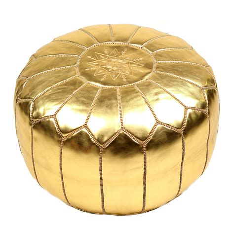 Gold Ottoman Pouf by Moroccan Golden Pouffe Ottoman Leather Pouf Sale