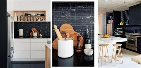 frentes de azulejo negro en la cocina
