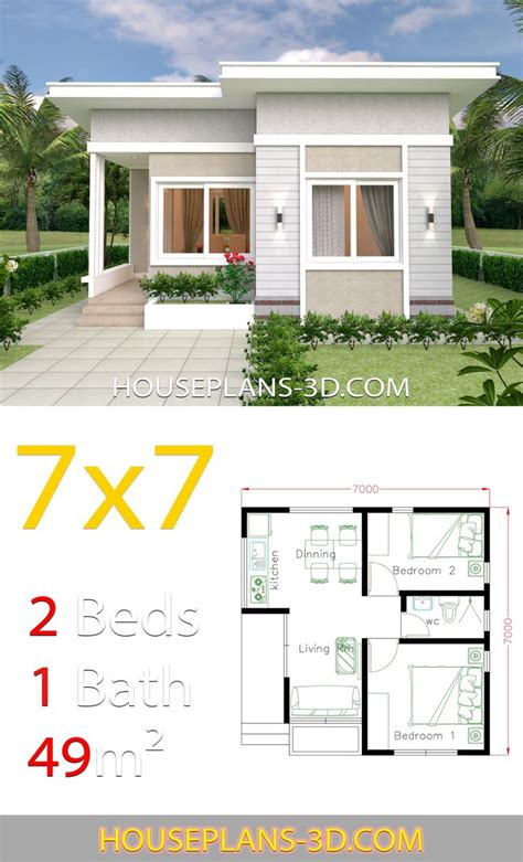 Small House Design 7x7 with 2 Bedrooms House Plans 3D di