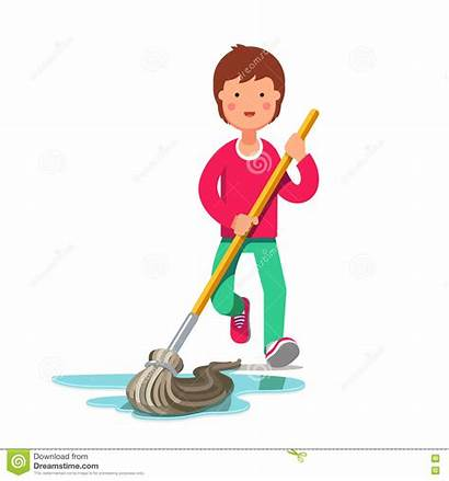 Mop Floor Clipart Clip Mopping Cleaning Broom