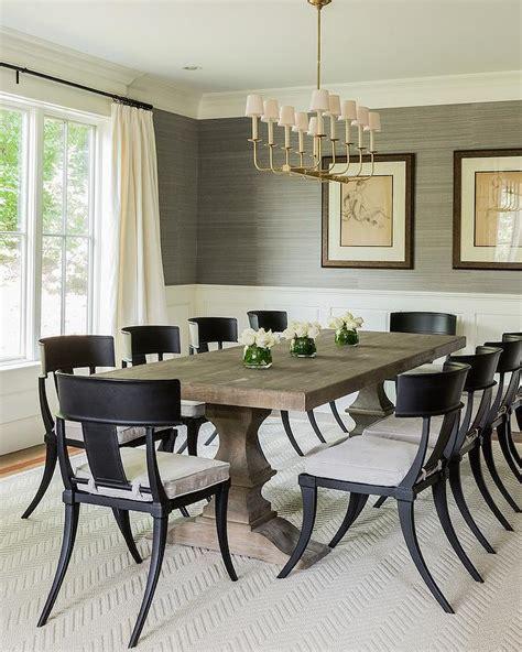 Black Klismos Dining Chairs  Transitional  Dining Room