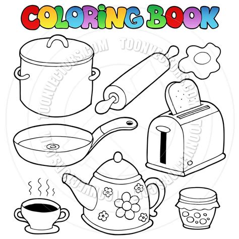 kitchen items colouring pages coloring  dibujos