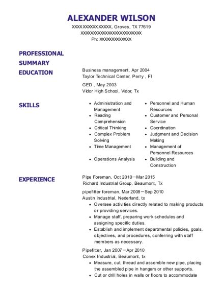 Shop Foreman Resume by Catamount Oilfield Services Formerly A M Threaders Shop