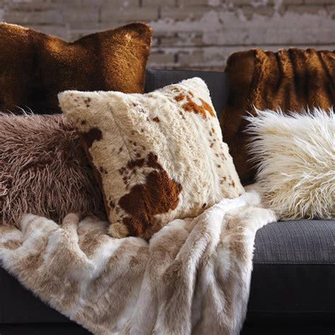 faux cowhide pillows faux cowhide throw pillow brown polyester 18 quot square ebay