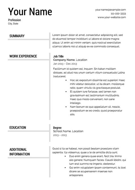 Free Format For Resume by Free Resume Templates Resume Cv