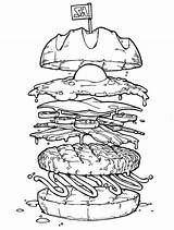 Burger Coloring Egg Colouring Drawing Colornimbus Disegno Cibo Fried Mcdonalds Disegni Illustrazioni Alimenti Mince Meat Dibujos Hamburguesas Schizzi Mcdonald 1st sketch template