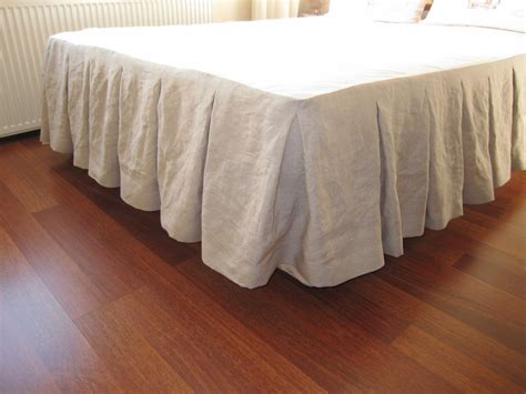 bed skirt cal king size bed skirt oatmeal beige linen box pleated King