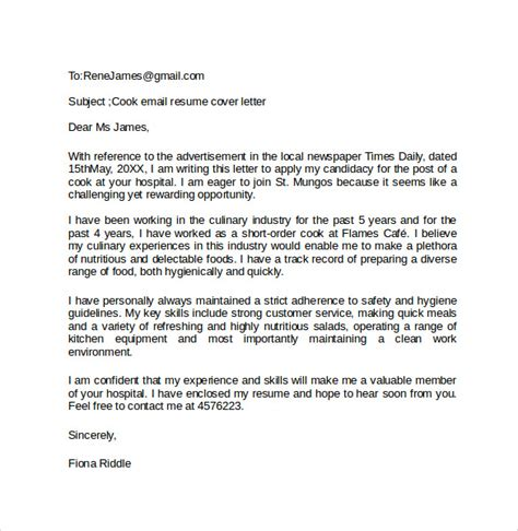 email cover letter exle 10 free documents