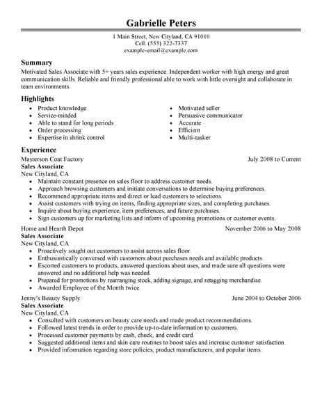 resume skils sales asociate best sales associate resume exle livecareer