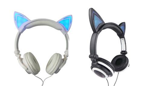 headphones with light up cat ears jamsonic light up cat headphones groupon goods