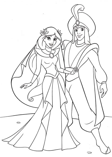 wedding  jasmine  aladdin coloring pages