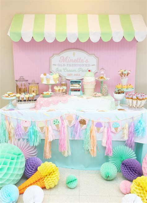 vintage ice cream parlor party  minted  vintage